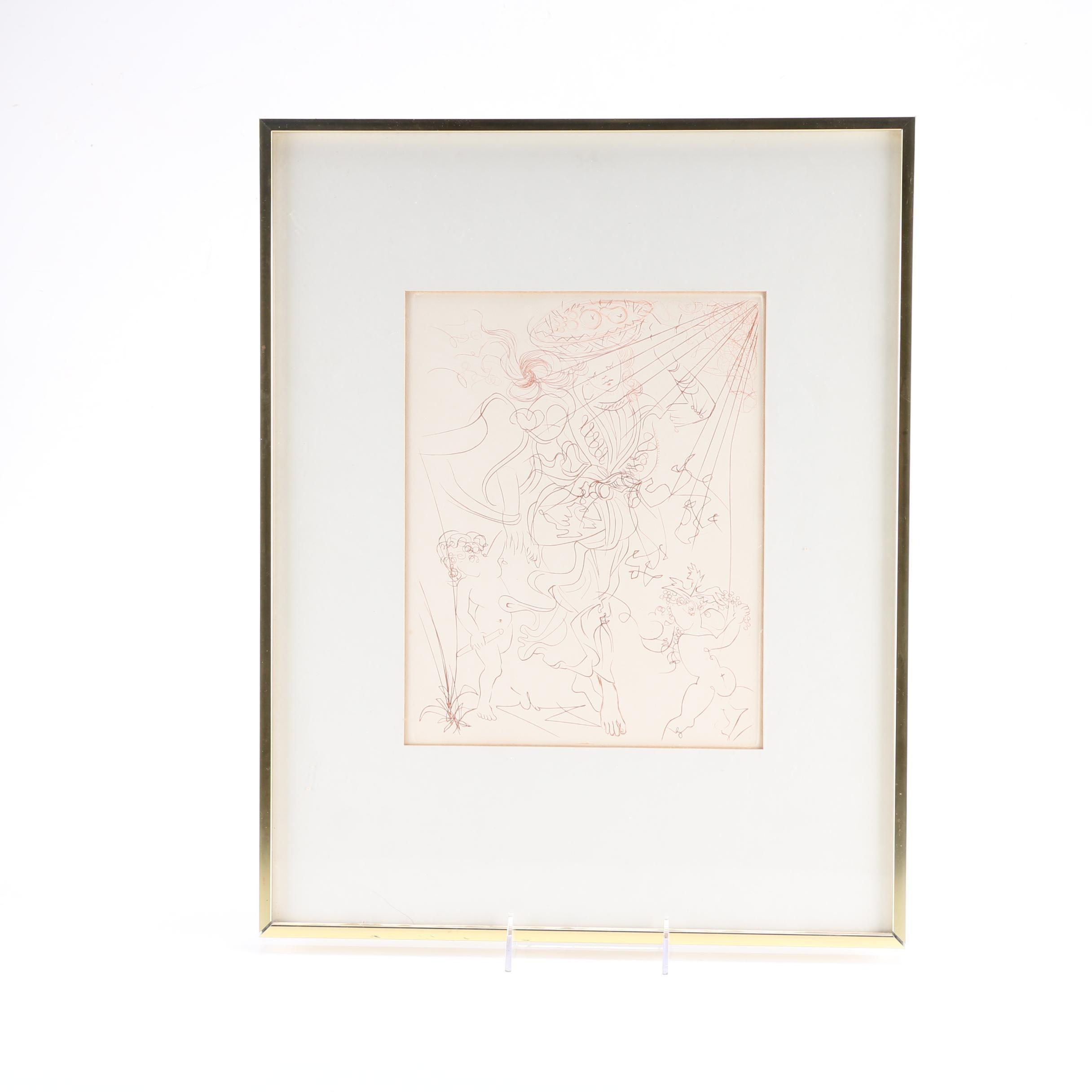 """Salvador Dali Engraving """"Autumn"""""""