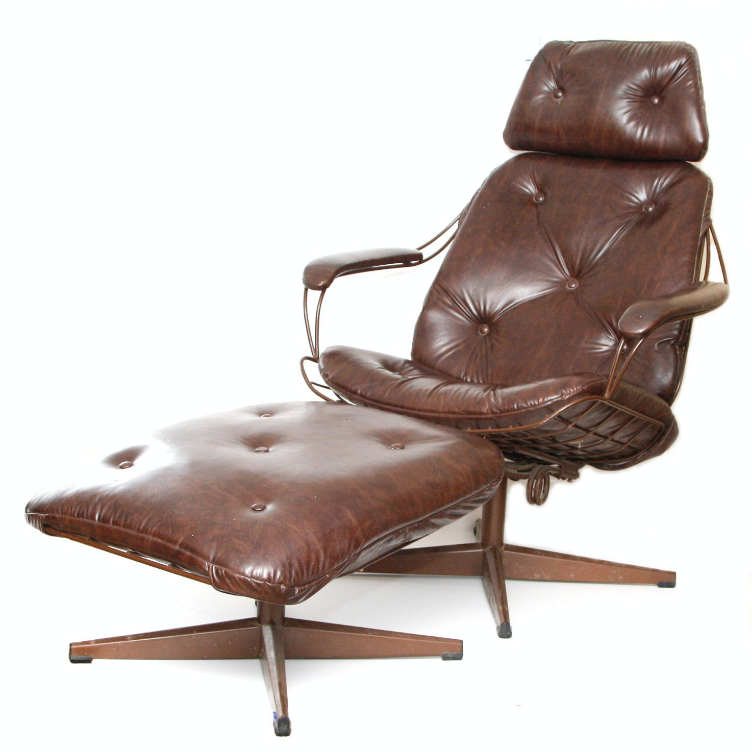 Mid-Century Eames Style Lounge Chair and Ottoman