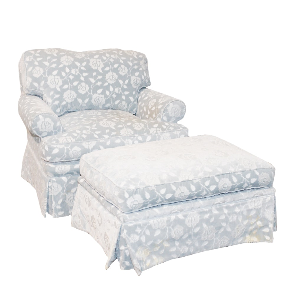 Custom Velveteen Damask Sofa Chair and Ottoman
