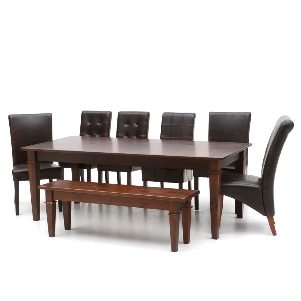 Pine Dining Table with Bench and Chairs