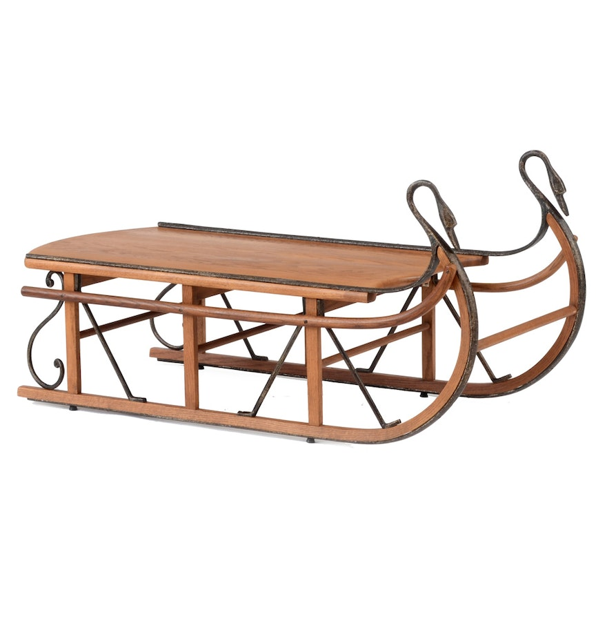 Oak sleigh coffee table ebth oak sleigh coffee table geotapseo Image collections