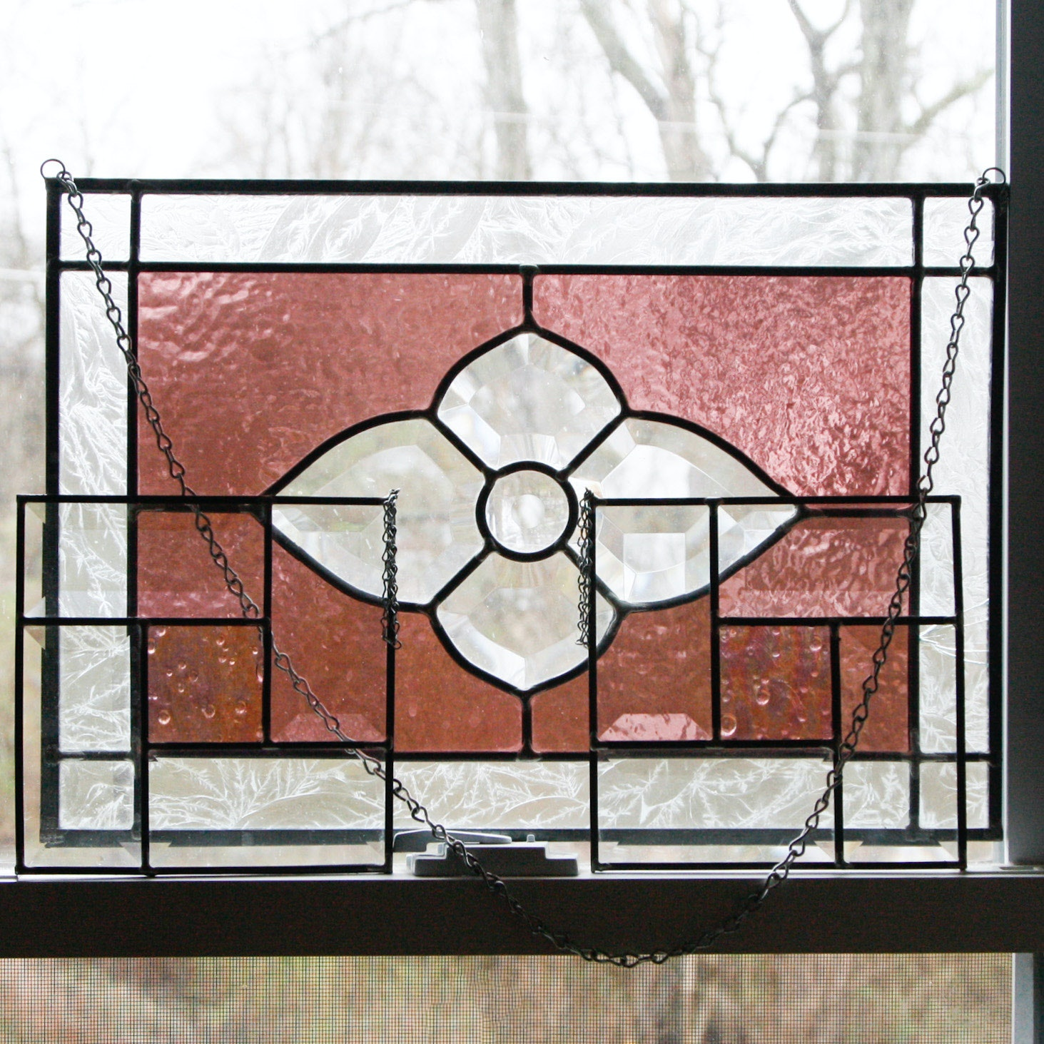Three Hanging Stained Glass Panels