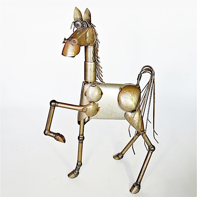 Folk Art Metal Horse Sculpture