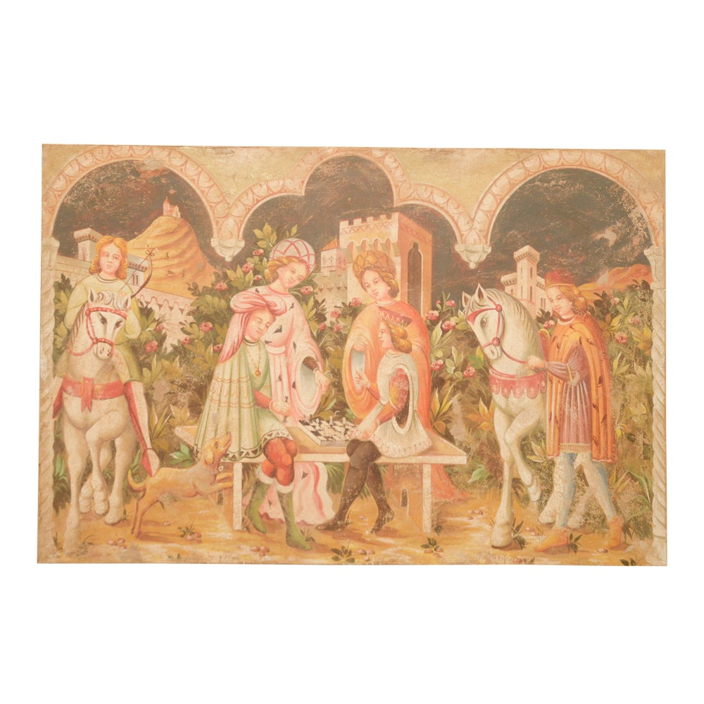 Oil and Stucco Painting on Canvas of Renaissance Style Scene