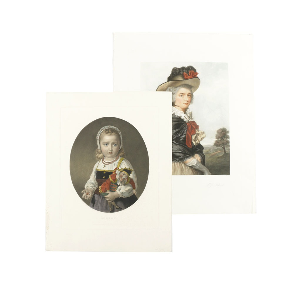 Pair of Hand-Colored Engravings After Oil Painting Portraits