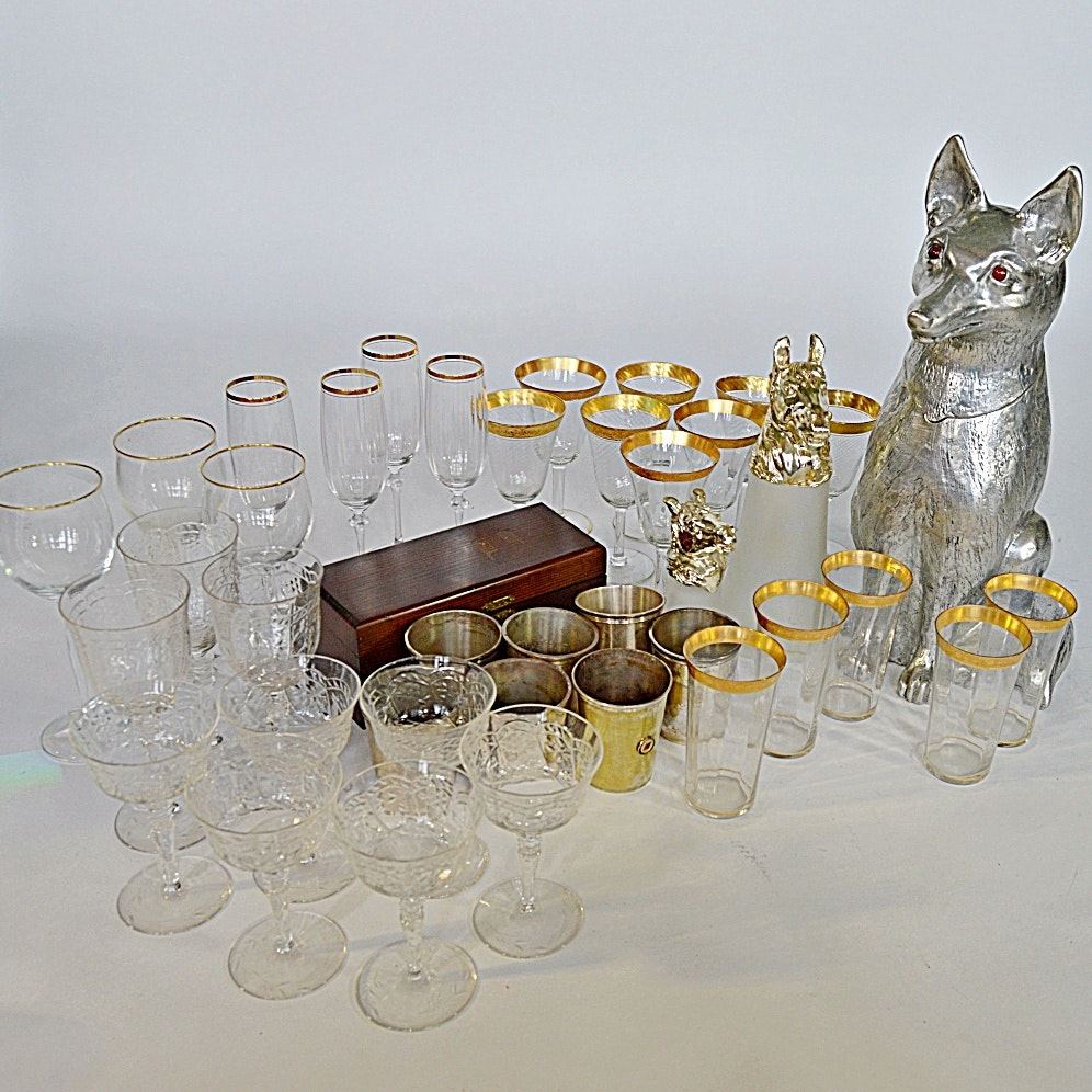 Equestrian-Themed Barware with Vintage Stemware
