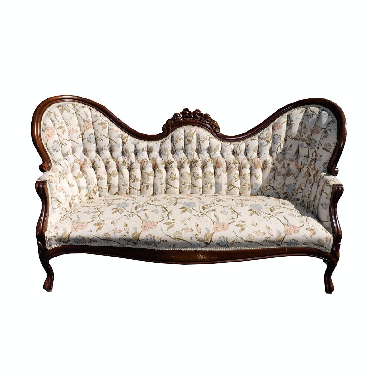 Camel Back Floral Upholstered Sofa