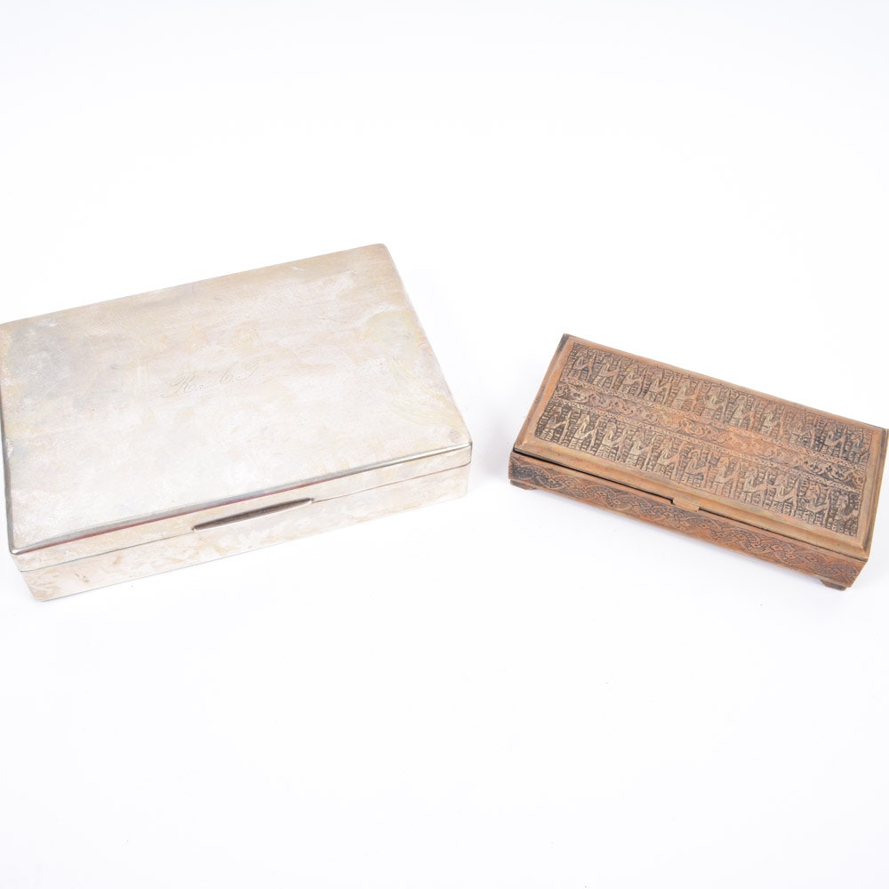 Vintage Metal Boxes Including 800 Silver