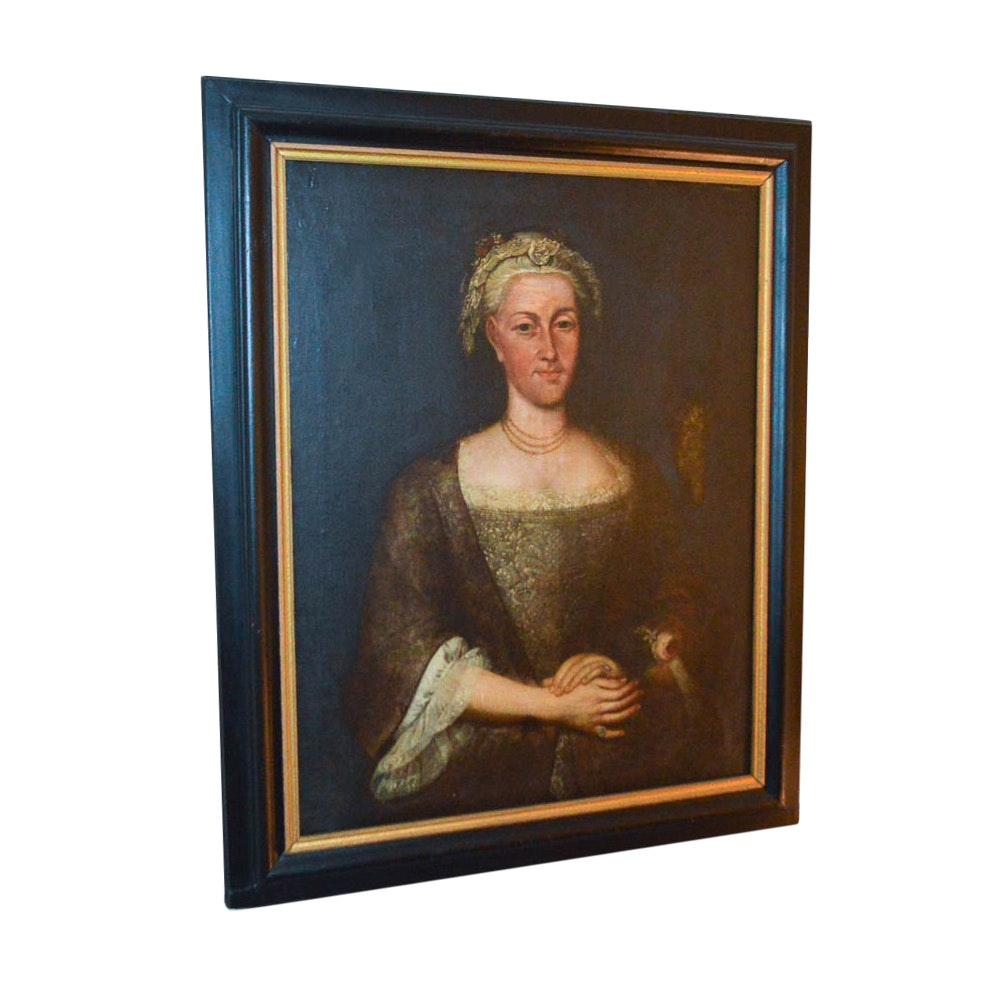 1727 Oil on Board of a Female Portrait