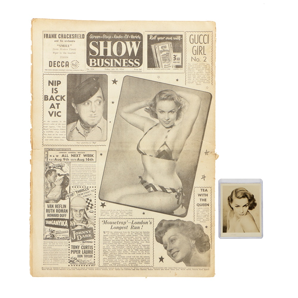"1954 ""Show Business"" Newspaper with Gucci Girl Feature and Rhona Pin-up Photo"