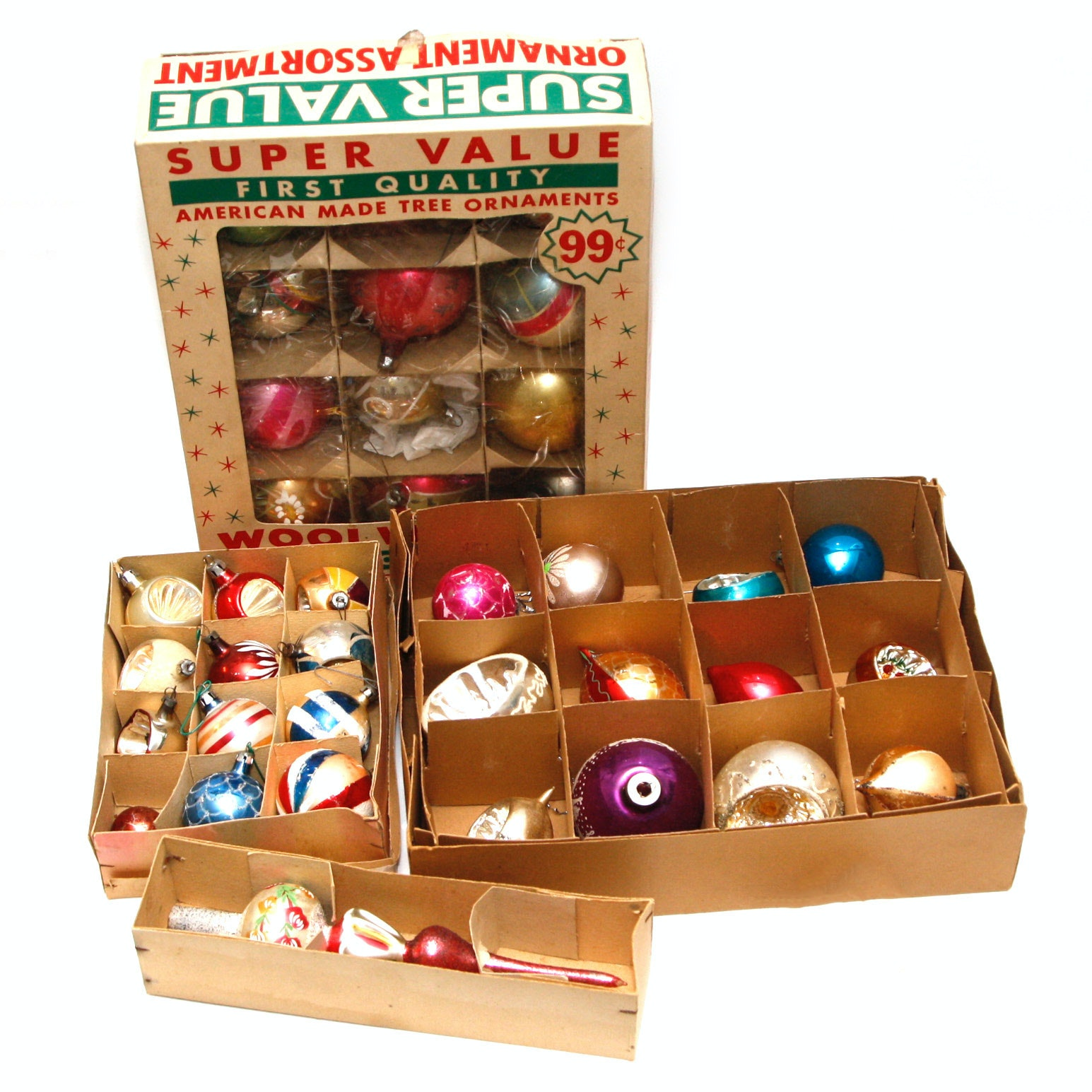 Collection of Antique Christmas Ornaments in Original Boxes