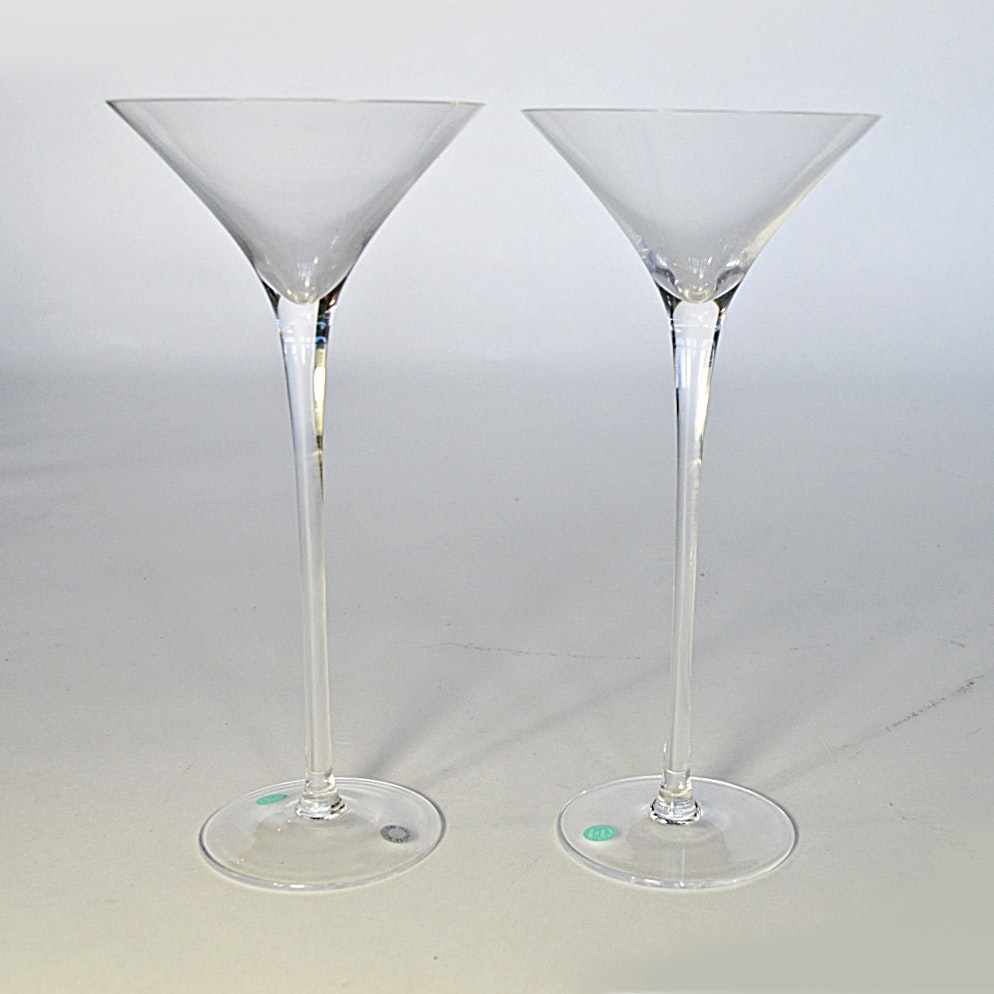 Pair of William Yeoward Tiffany Crystal Champagne Toasting Flutes