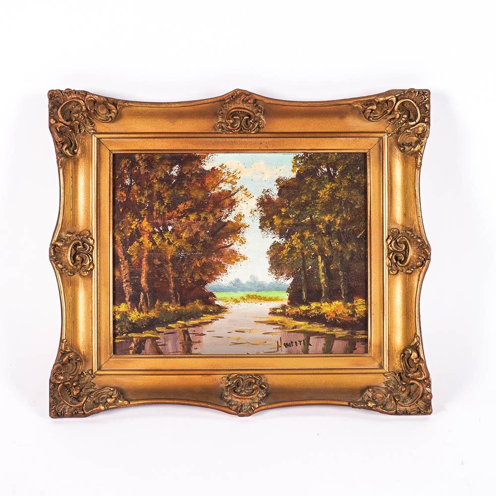 H. Wester Original Landscape Oil Painting