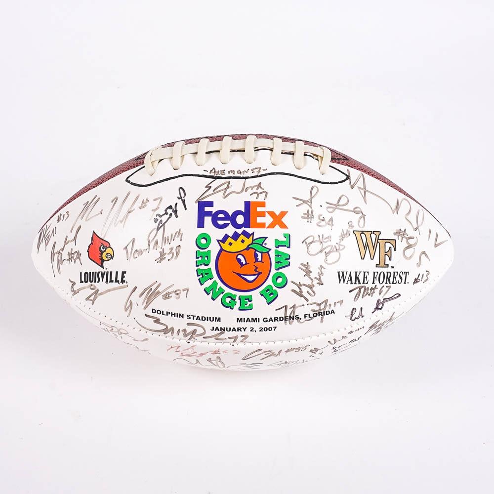 2007 Louisville Cardinals Signed Orange Bowl Football