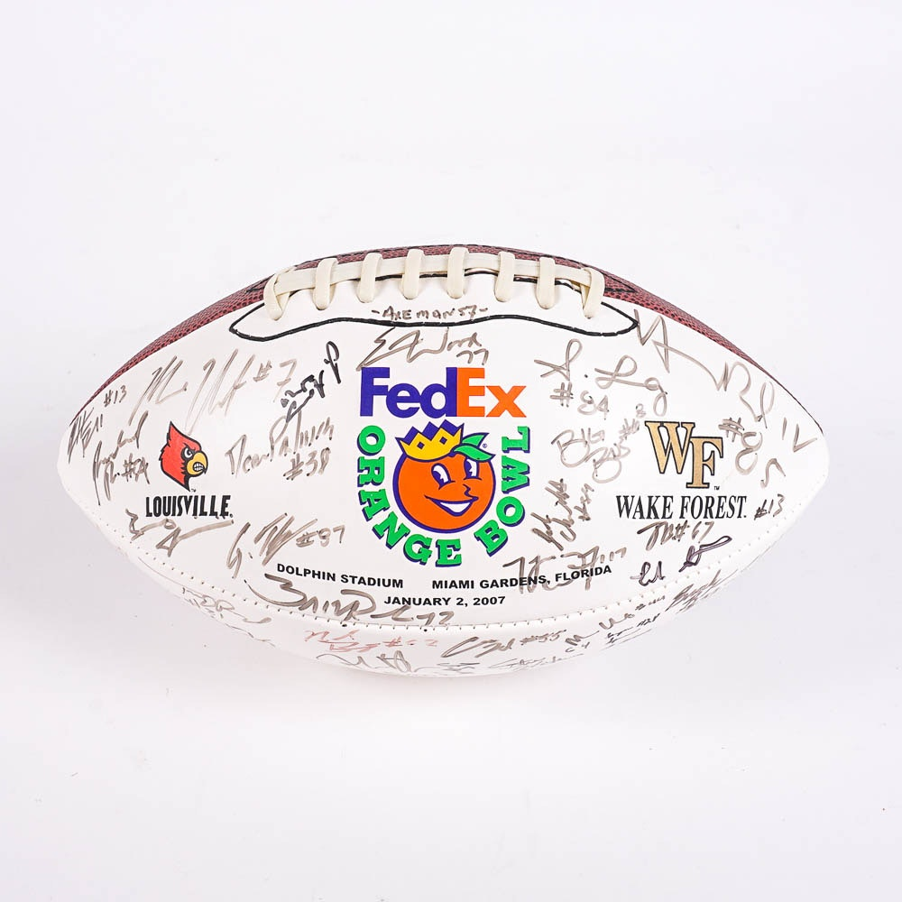 2007 Louisville Cardinals Signed Orange Bowl Football