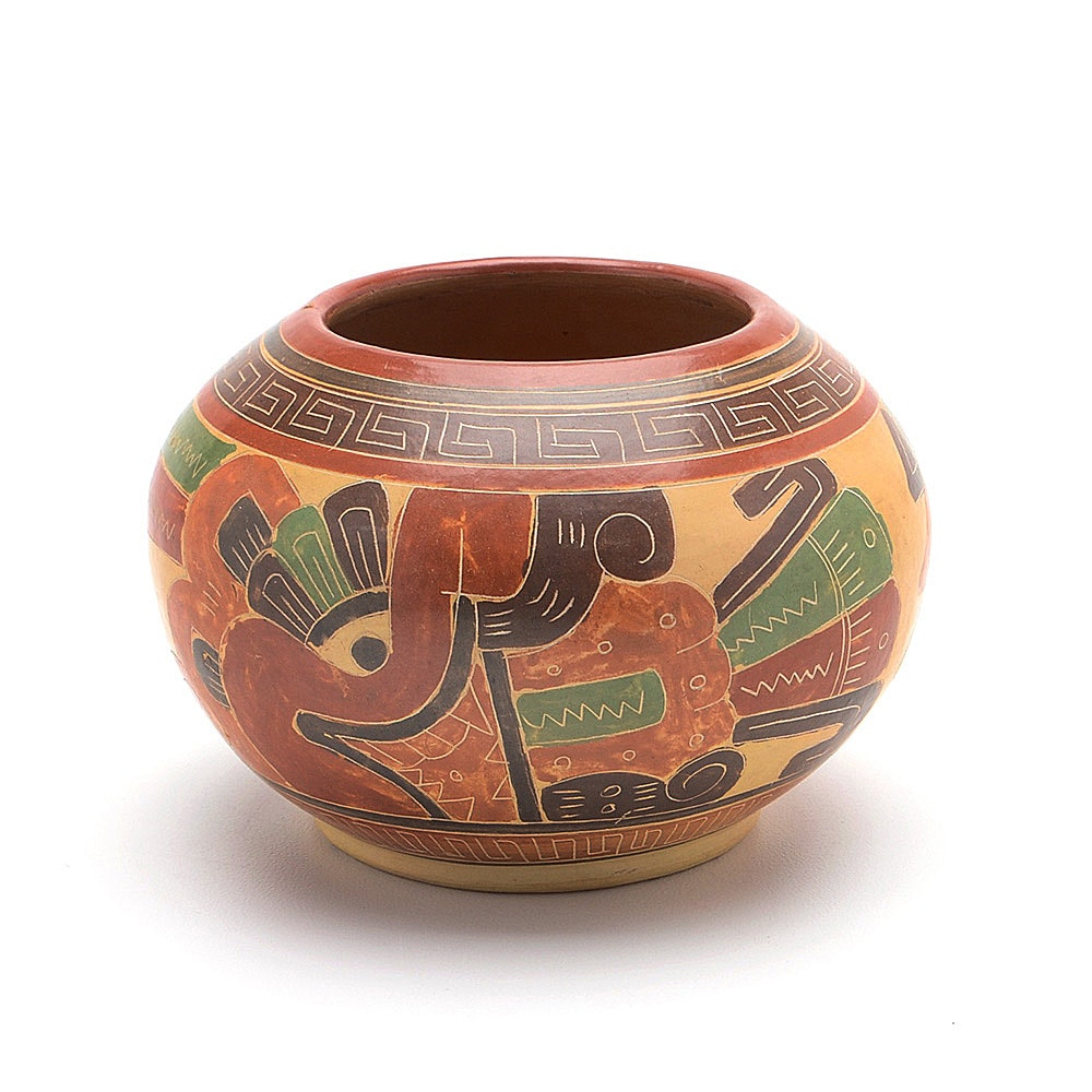 Vintage Aztec Style Polychrome Painted Pottery Bowl