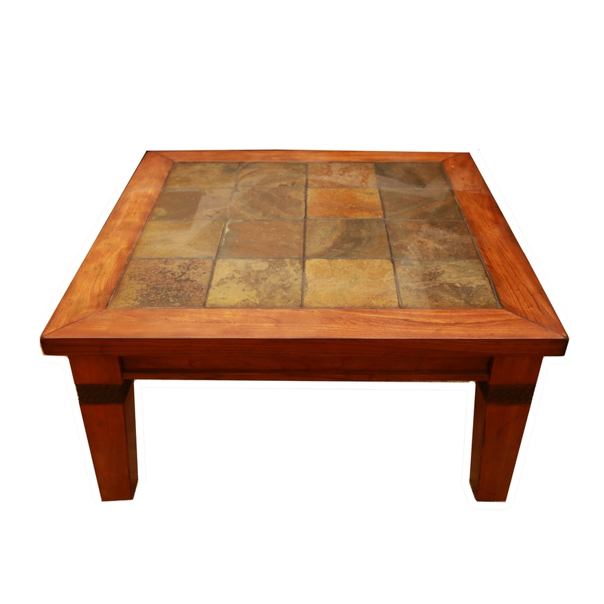 Tile Coffee Table Set: Contemporary Slate Tile Coffee Table