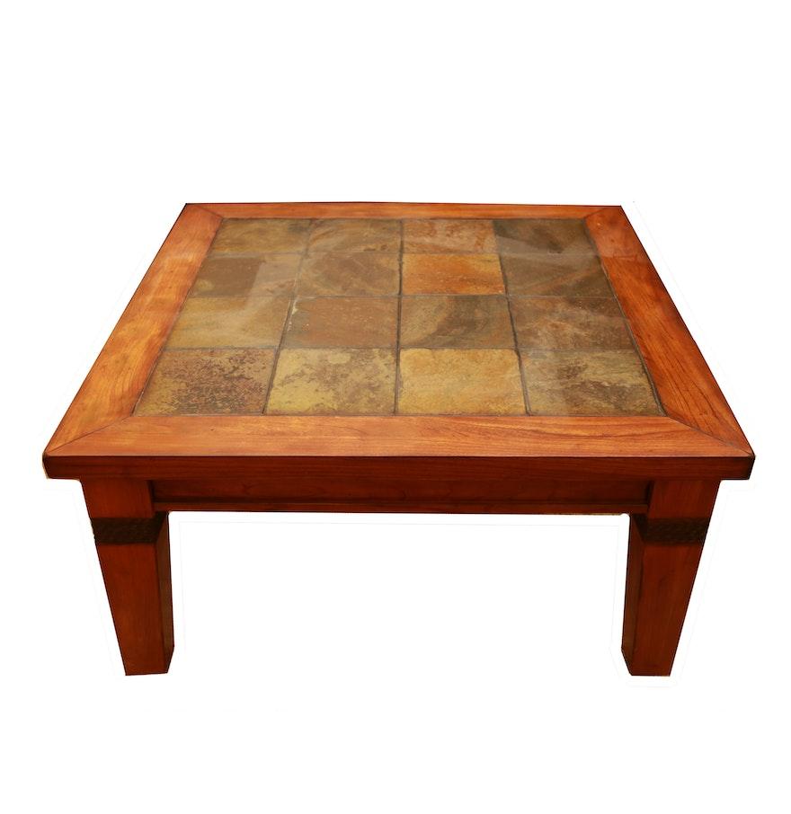 Contemporary Slate Tile Coffee Table Ebth