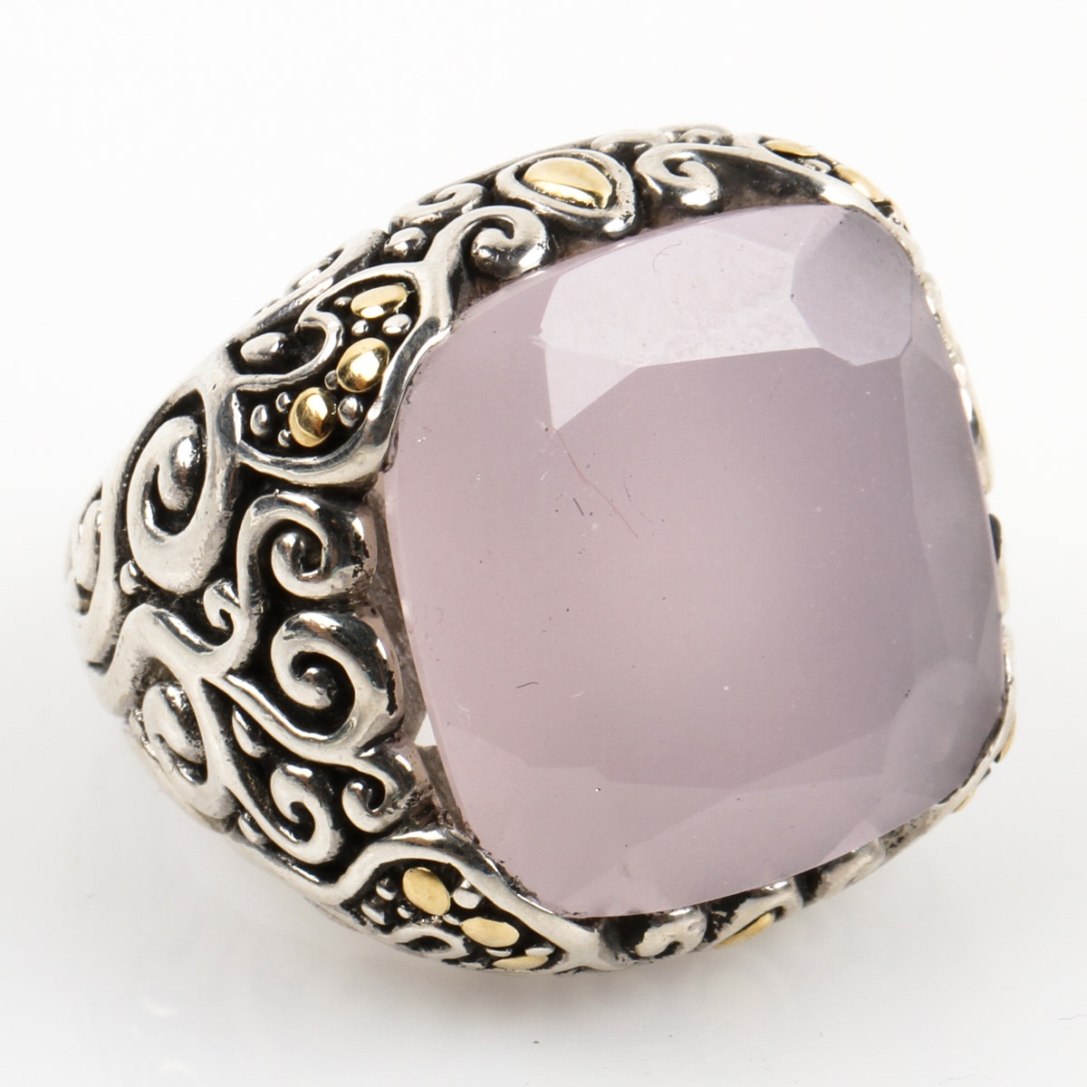 Sterling Silver, 18K Yellow Gold, and Rose Quartz Filigree Statement Ring