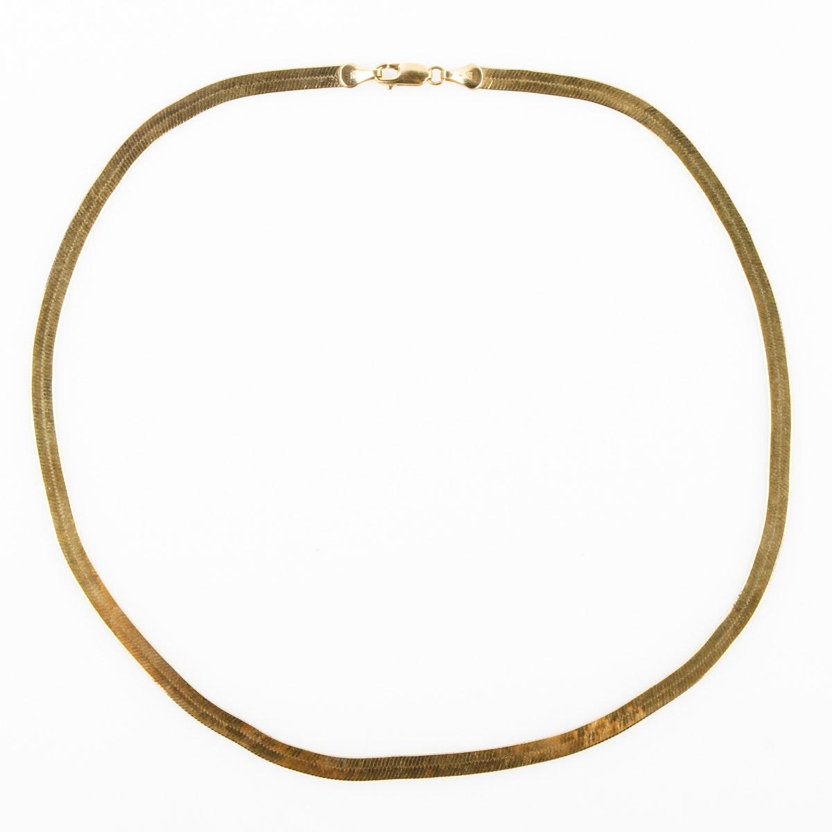 10K Yellow Gold Herringbone Chain