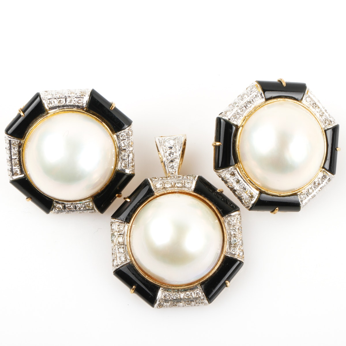 14K Yellow Gold, Mabe Pearl, and 1.42 CTW Diamond Demi Parure