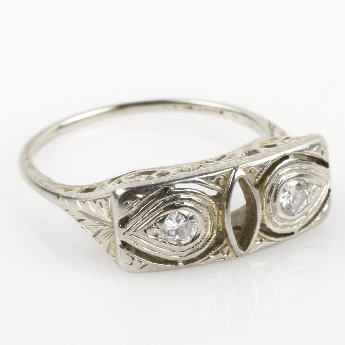 Edwardian 18K White Gold and Diamond Ring