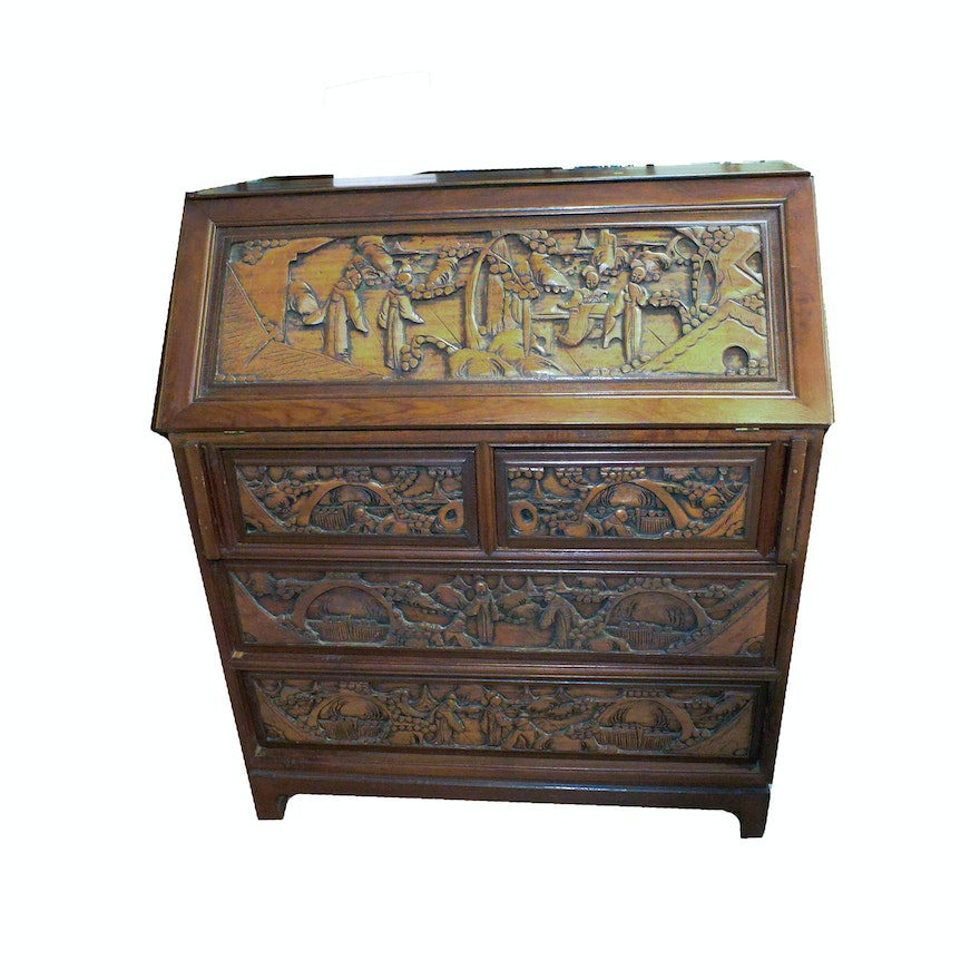 Chinese Inspired Carved Wood Secretary Desk