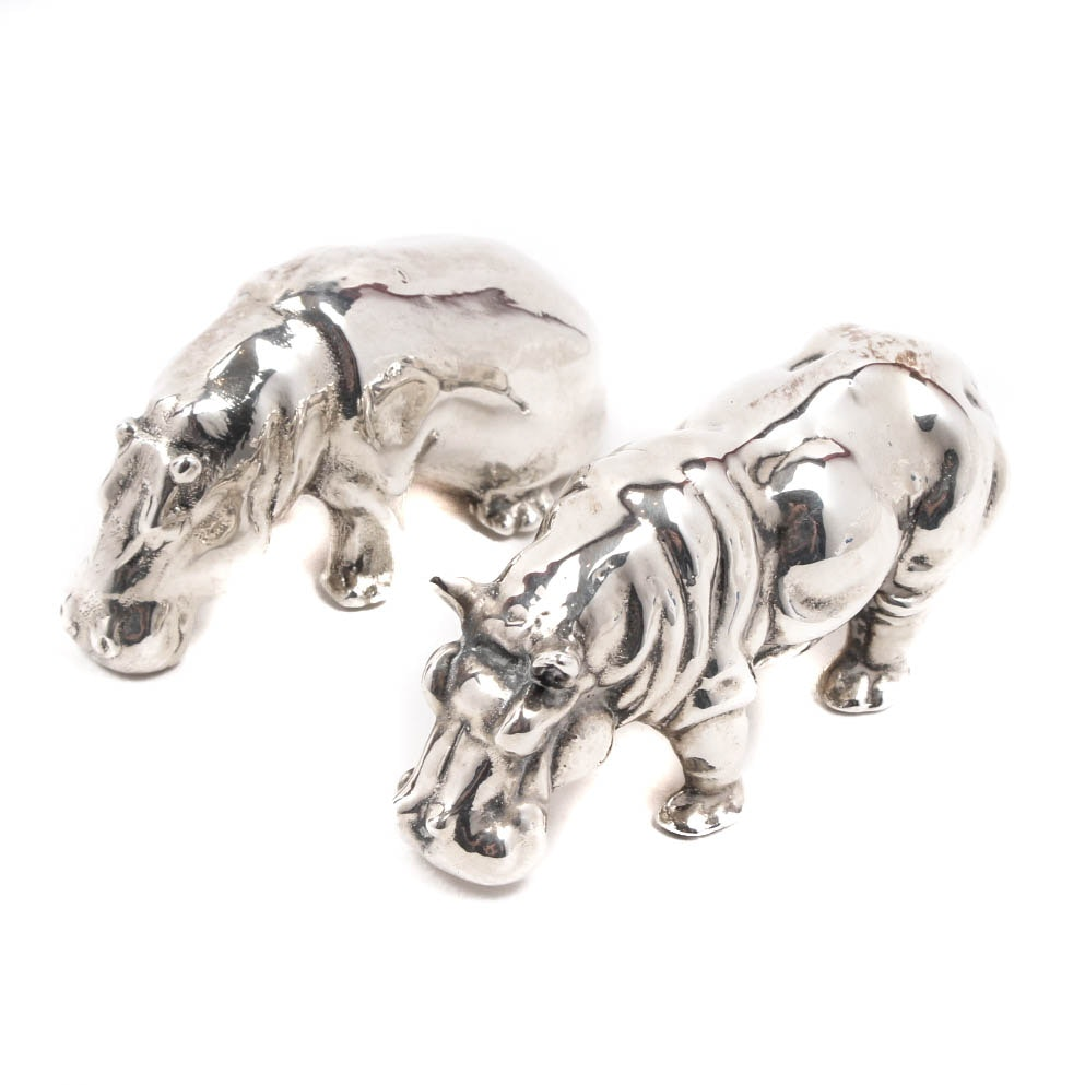 Sterling Silver Hippopotamus Figures