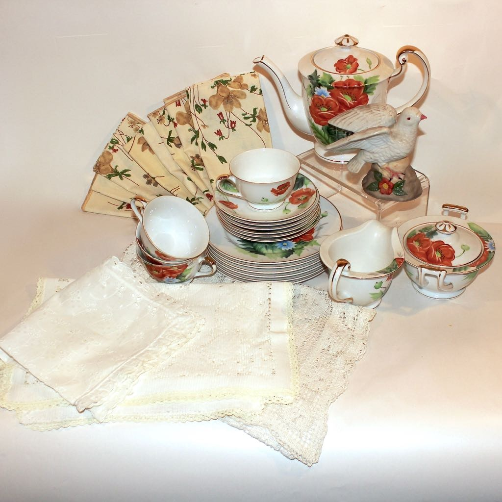 Hand Painted Floral Tea Service with Cut Linens