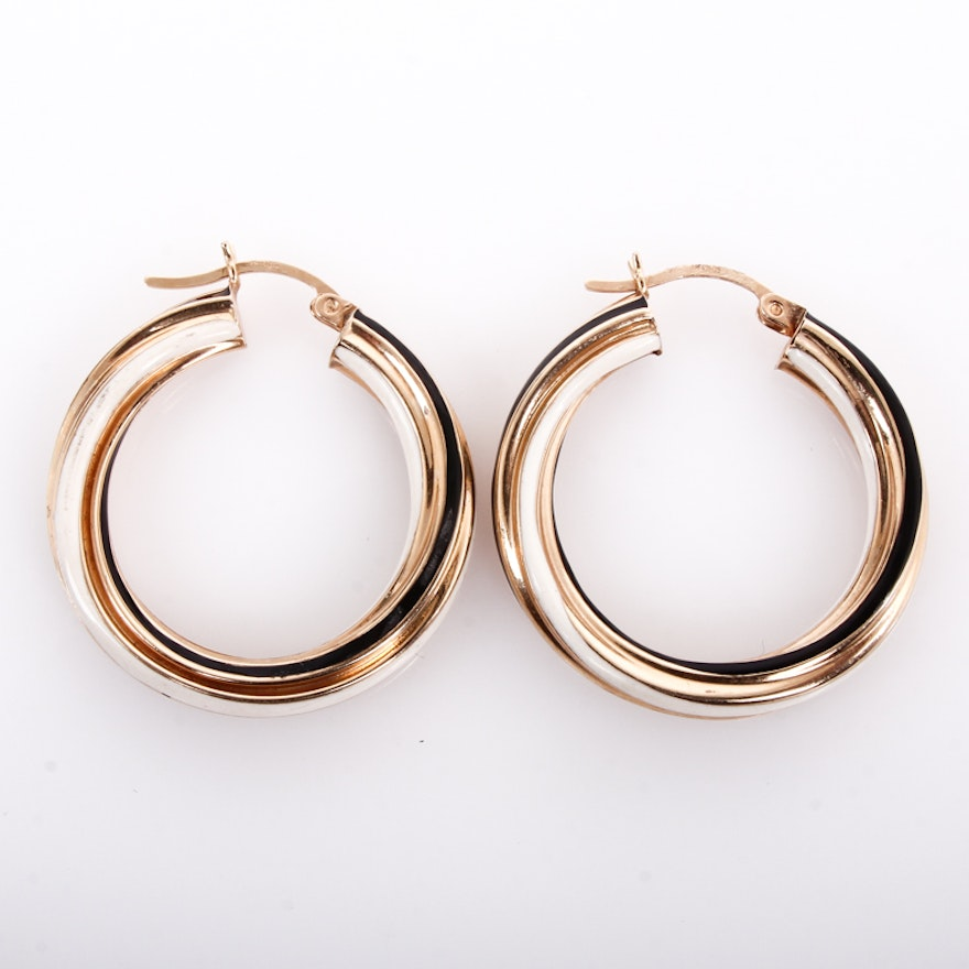 14k Yellow Gold With Black And White Enamel Hoop Earrings