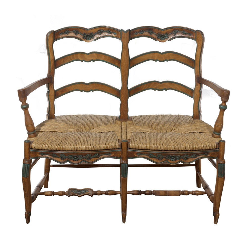 Mid 20th Century Wood and Rush Couple Bench