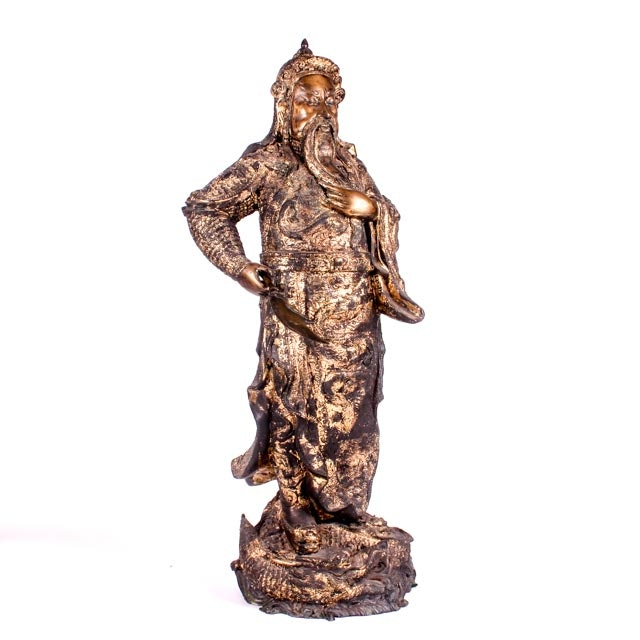 Large Finely Cast 19th Century Chinese Gilt Bronze Sculpture of Guan Yu