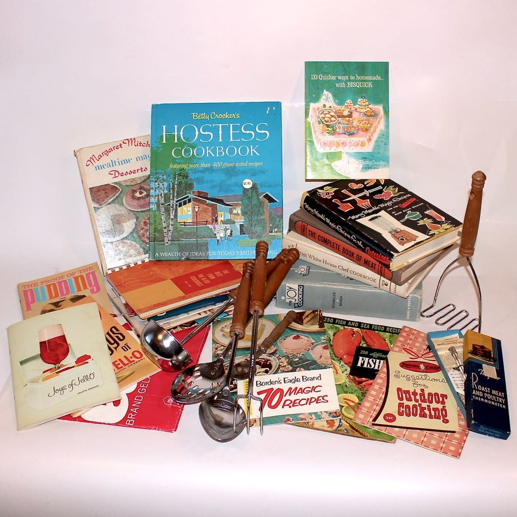 Vintage Cookbooks and Cooking Utensils