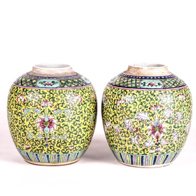 Pair of Early 20th Century Export Ginger Jars