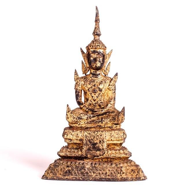 Antique Southeast Asian Cast Gilt Bronze Shakyamuni Buddha Sculpture