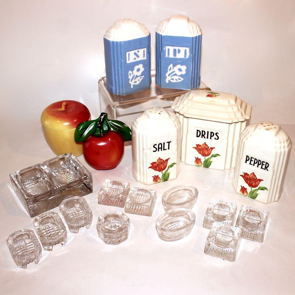 Vintage Salt and Pepper Sets, Glass Salt Cellars, and Chalkware
