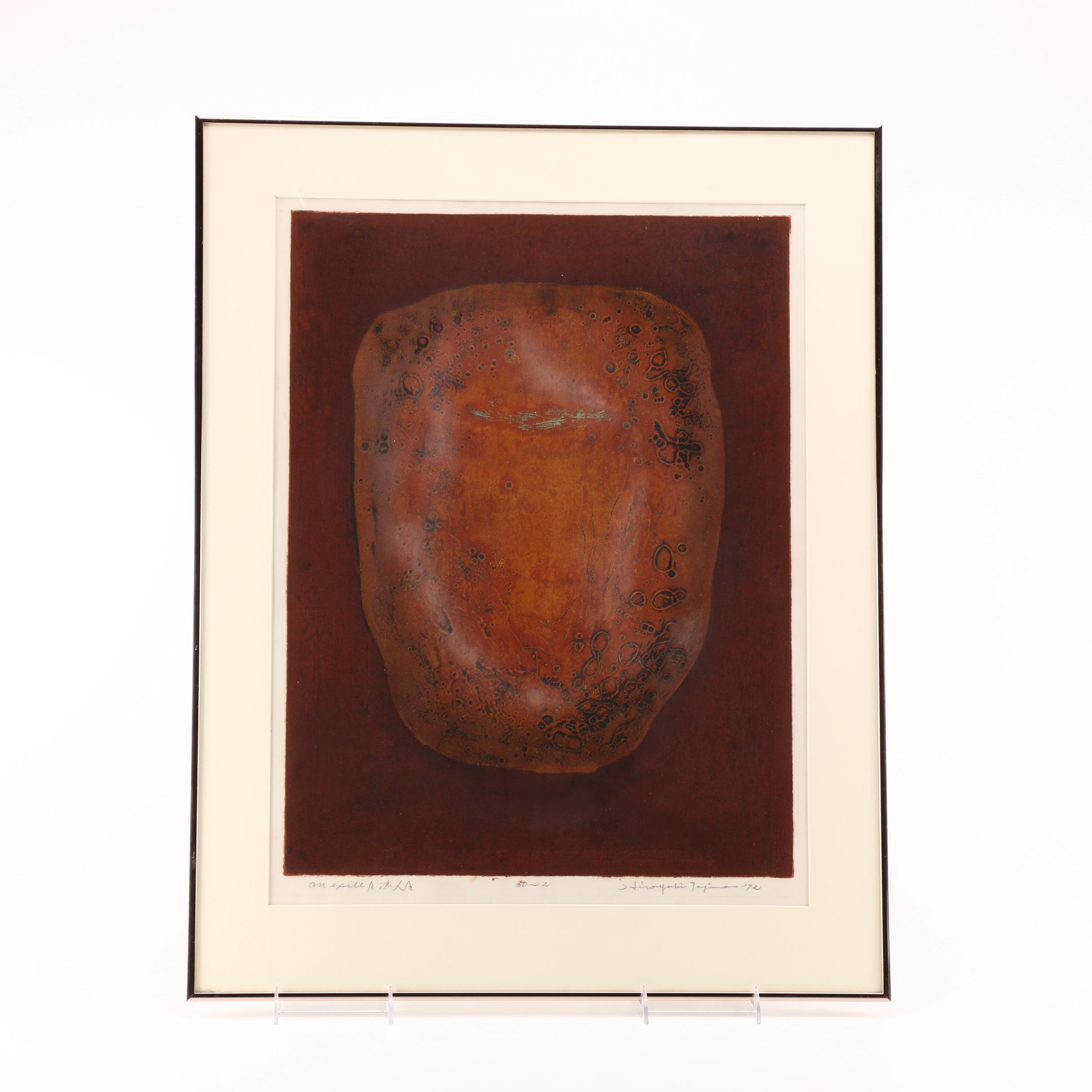 Aquatint Etching on Paper of an Artifact