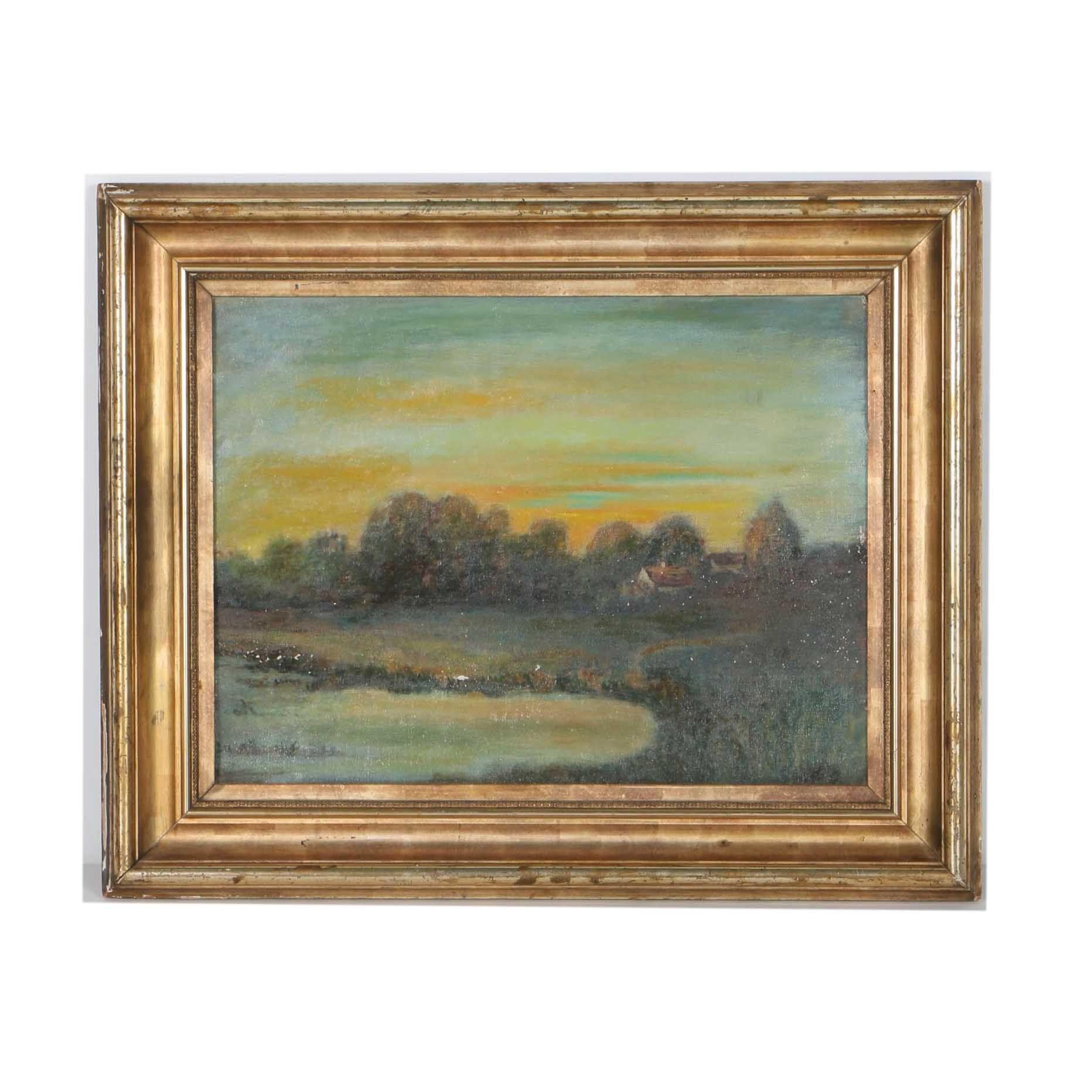 Original Oil on Canvas Board Landscape
