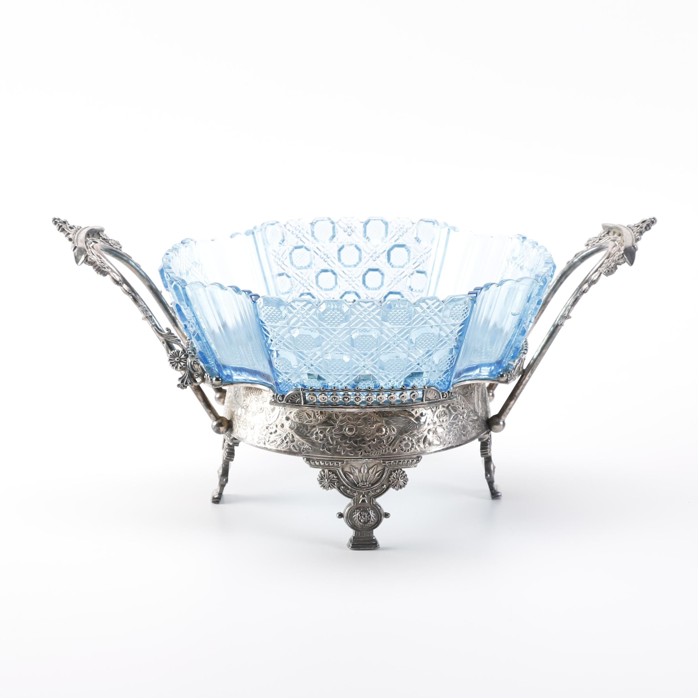 Molded Blue Depression Glass Dish With Warming Tray