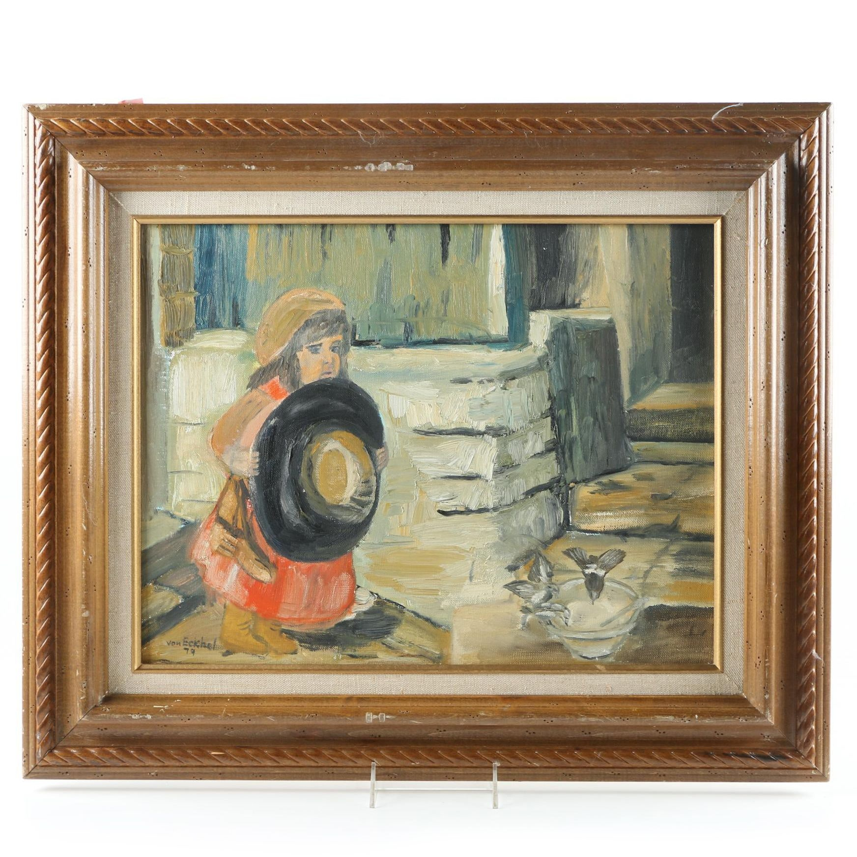 1979 Von Eckhel Original Oil on Canvas Board Painting
