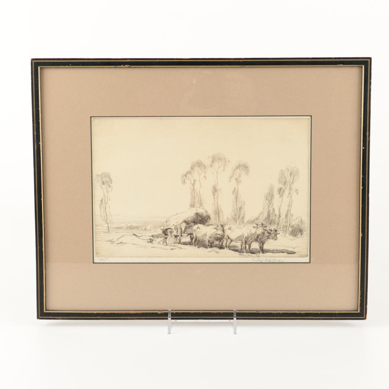 Framed and Signed Etching of a Hay Carriage