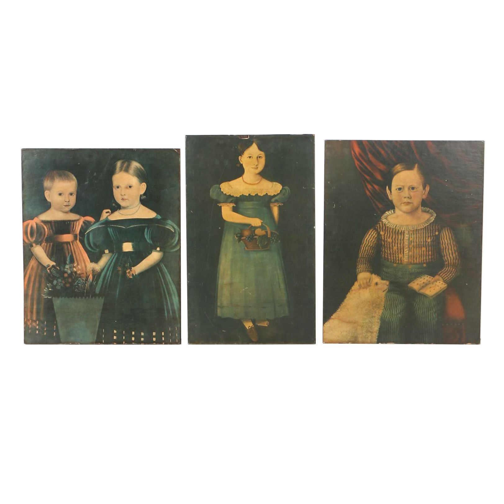 Decoupage Offset Lithographs on Board After Child Portrait Paintings