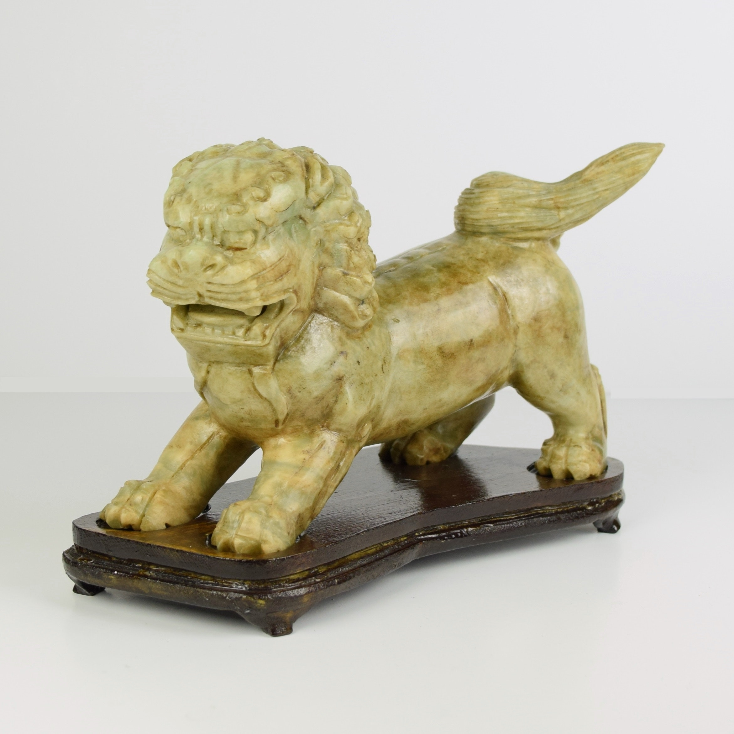 Chinese Carved Stone Guardian Lion on Fitted Wood Stand