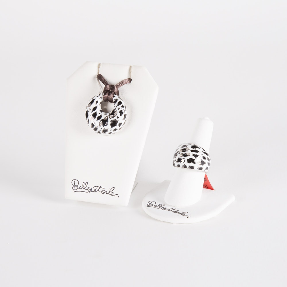 """Belle Etoile Sterling Silver and Enamel """"Leopard White"""" Pendant and Ring"""