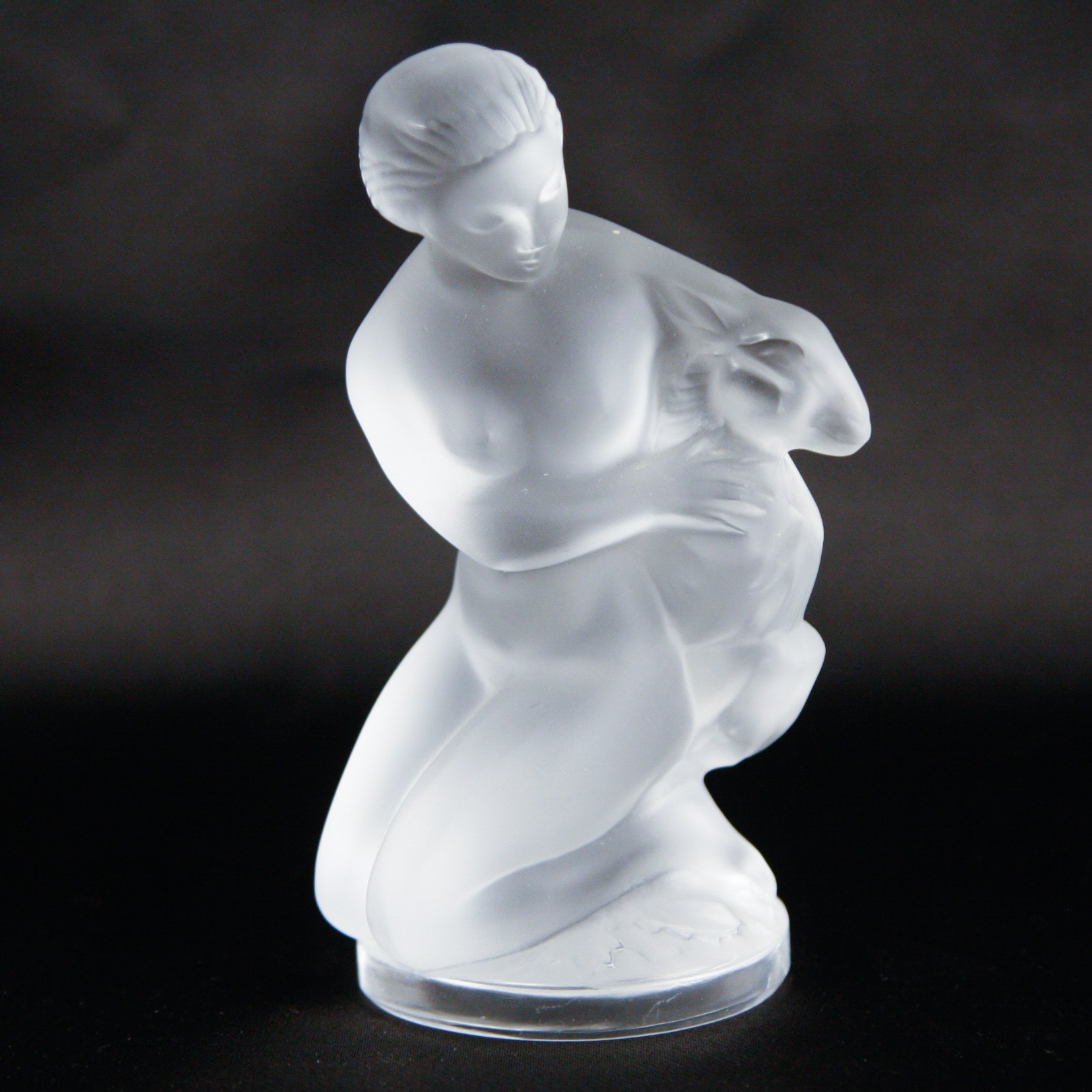 """Lalique """"Diana the Huntress with Fawn"""" Crystal Figurine"""