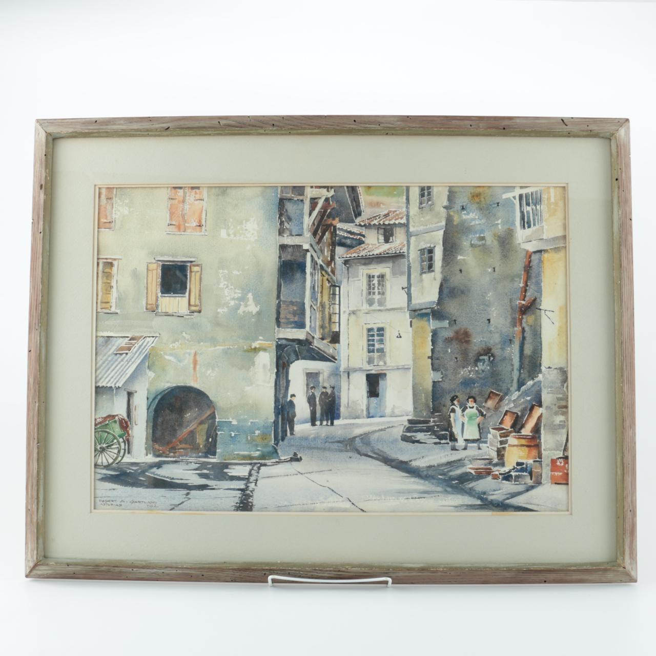 """Robert A. Gartland Original Watercolor Painting """"Asturias"""""""