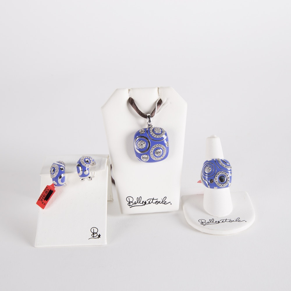 """Belle Etoile Sterling Silver and Enameled Iris """"Galaxy""""Jewelry Set"""