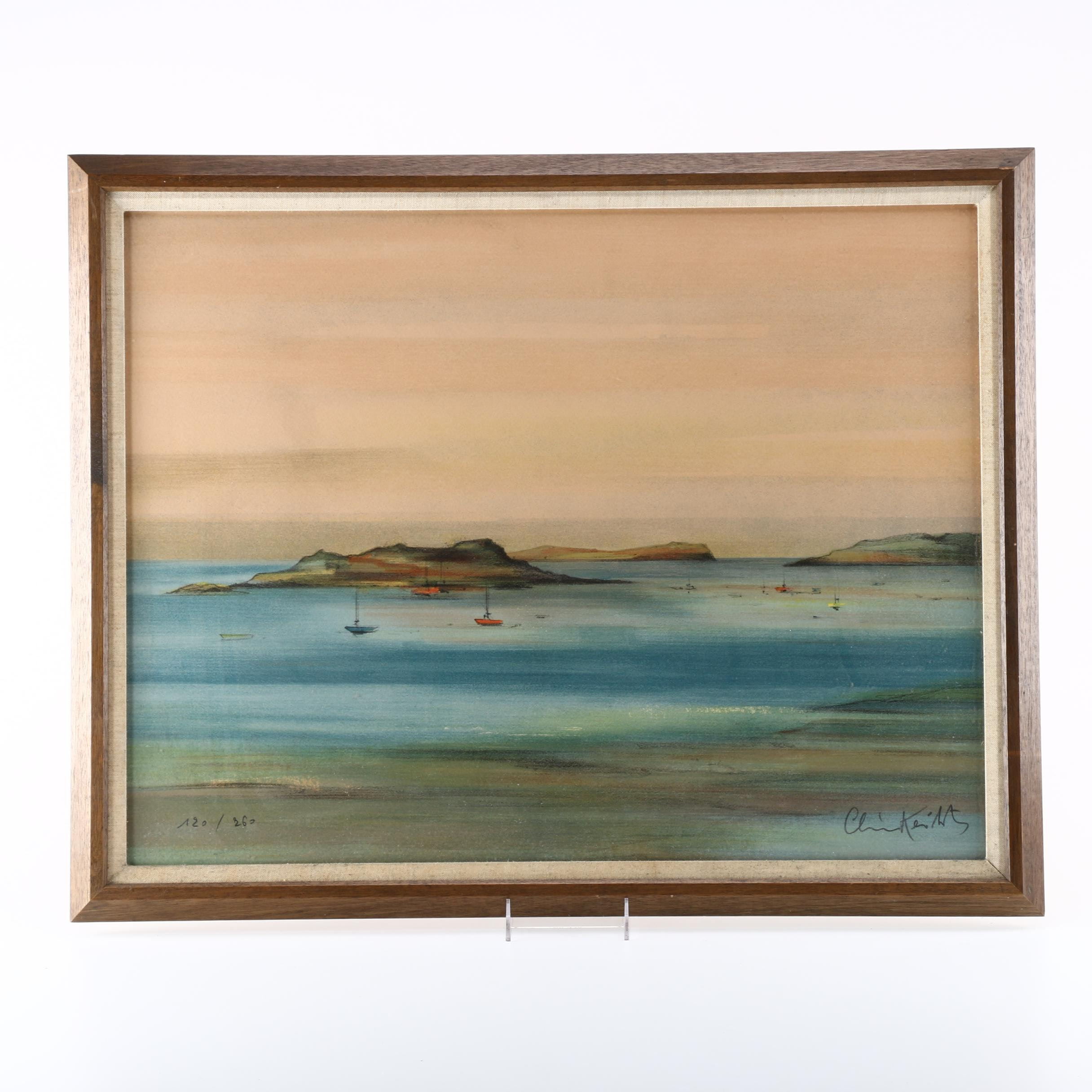 Framed Limited Edition Lithograph of Boats in Bay