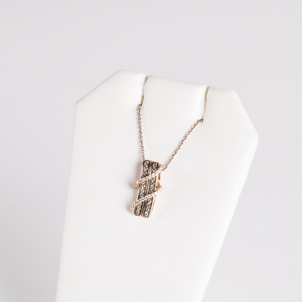 14K Rose Gold Chocolate and White Diamond Crossover Pendant on 14K Chain