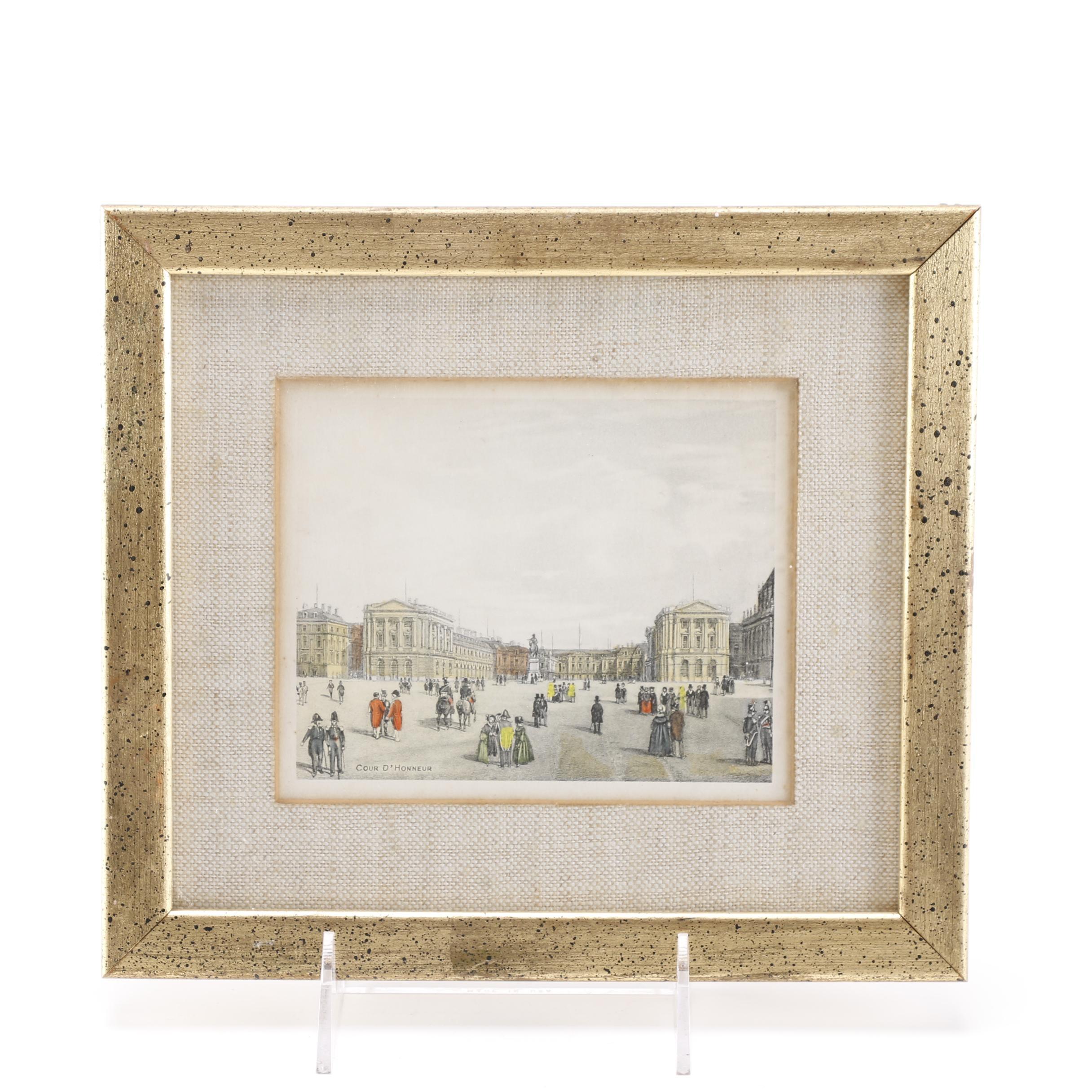 """""""Cour d'honneur"""" Lithograph of Paris"""